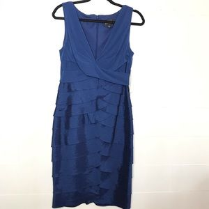 Adrianna Papell Tiered Ruffle Blue Dress NWT